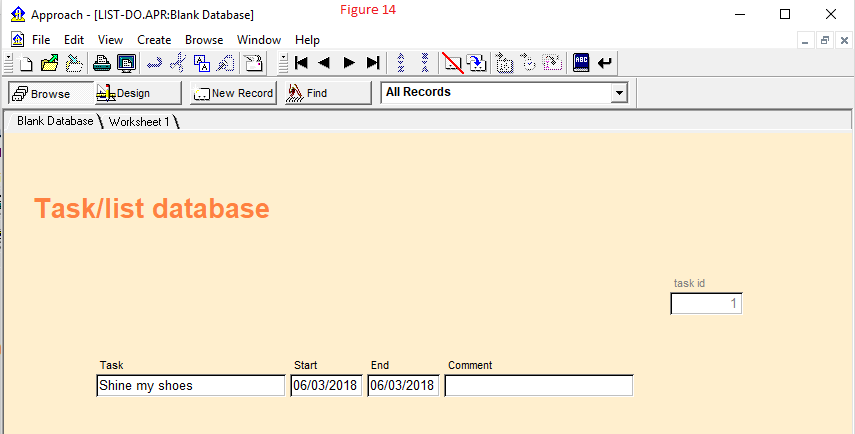 A basic database form design with three records